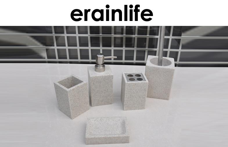 Sandstone Bathroom Accessories Sets 5Pcs Beige Modern Modern Bath Accessories