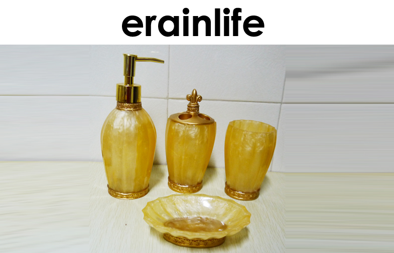 Artificial Jade Polyresin Craftwork Bathroom Accessory Set 4pcs With Hand painted Gold Color